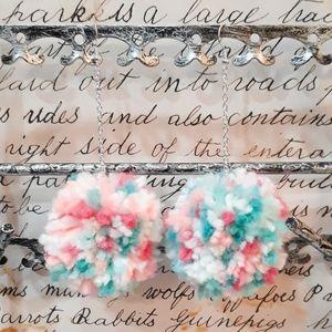 Birthday Cake Handmade Pom Pom Earrings